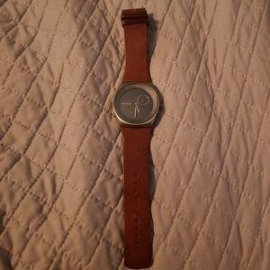 Brown leather skagen watch
